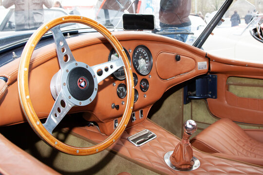 aC Cobra sports car interior of vintage old vehicle