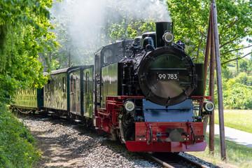 Beautiful old steam train on the island of Rügen Germany