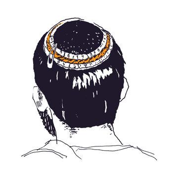 Hand drawn sketch art of a young man wearing a kippah