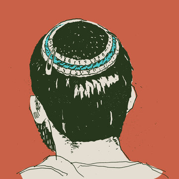 Hand drawn sketch art of a young man wearing a kippah