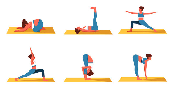 Collection of Girl's doing exercise on top of a yoga mat, Woman workout fitness, aerobic and exercises. concept of healthy lifestyle and yoga meditation. Vector Illustration.