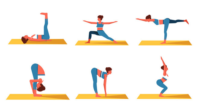 Set of Woman practicing exercises of different kinds of sport, yoga and meditation. Girl doing exercise on top of a yoga mat, Woman workout fitness, aerobic and exercises.