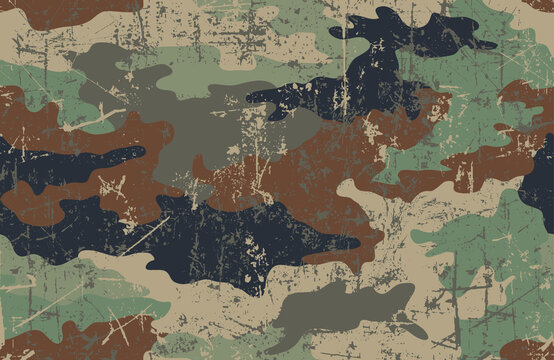 Camouflage seamless pattern. Grunge and scratch texture. Five colors. Tan, black, two shades of brown and two shades of green.