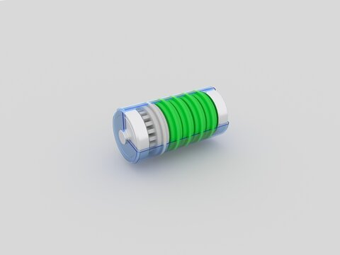 3d image. Battery on a white background.
