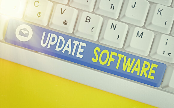 Text sign showing Update Software. Business photo showcasing an application patch fixing the previouslyfound bugs