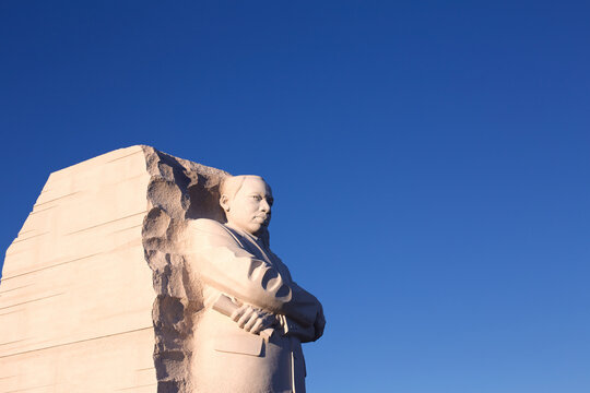 Statue at the Martin Luther King memorial in Washington DC, USA in October 2013.