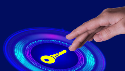 Concept of keywords research and modern technology. Woman pointing at key icon on blue background, closeup