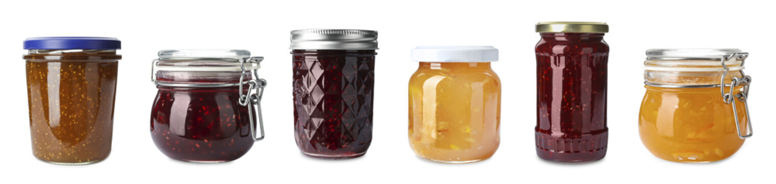 Set of jars with delicious jams on white background. Banner design