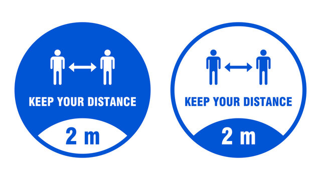 Keep Your Distance 2 m or 2 Metres Round Social Distancing Floor Marking Adhesive Badge Icons. Vector Image.