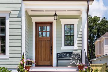 front door, brown front door of a house