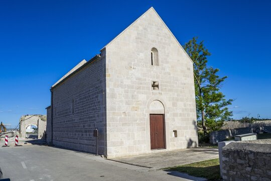 Picture of the Church of St. Ambrose under the sunlight in Nin, Croatia