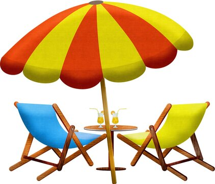 Illustration of colorful beach chairs and table with glasses of juice and an umbrella