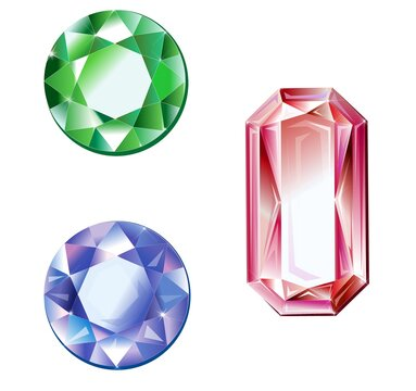 Illustration of colorful gemstones isolated on a white background