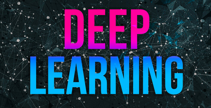 Deep learning theme with abstract network lines and patterns