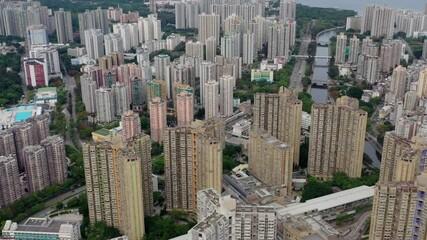 Wall Mural - Top view fly over Hong Kong city