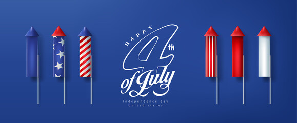 Independence day USA banner template rockets for fireworks.4th of July celebration poster template.fourth of july vector illustration .