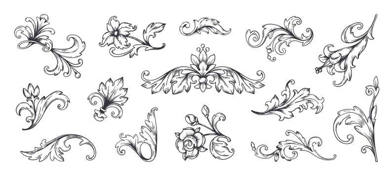 Baroque ornament. Vintage floral border elements, engraved leaves and frame filigree arabesque. Vector decorative vintage ornamental set for decorative illustration or engraving