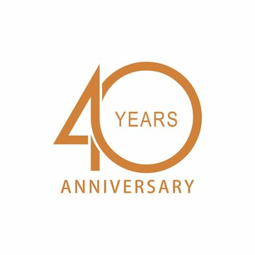 Vector 40 year anniversary, birthday logo label. Year. Vector illustration. Isolated against a white background.