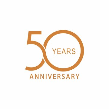 Vector 50 year anniversary, birthday logo label. Year. Vector illustration. Isolated against a white background.