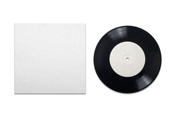 Fototapeta Vinyl phonograph record with cardboard cover on white background. obraz