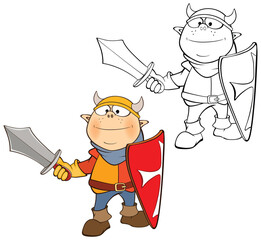 Tuinposter Babykamer Vector Illustration of a Cute Cartoon Character Knight for you Design and Computer Game. Coloring Book Outline Set