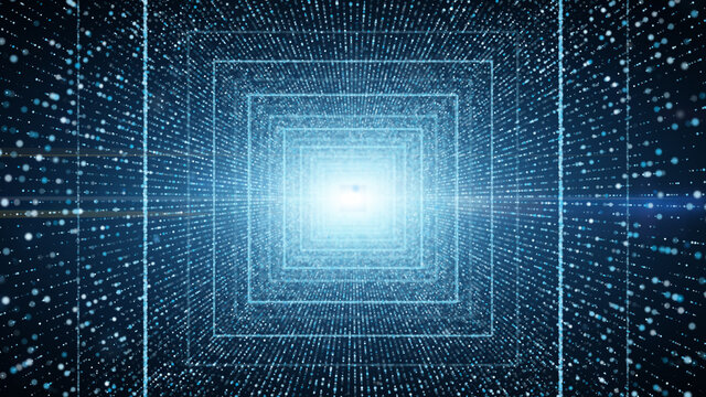 Infinite light blue square tunnel of glowing dots particle. cyber technology background.