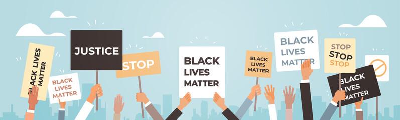 protesters hands holding black lives matter banner awareness campaign against racial discrimination of dark skin color support for equal rights of black people horizontal vector illustration.