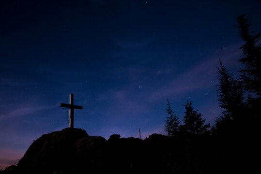 A Christian cross in a hilltop in Uttarakhand, India