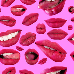 Seamless pattern of seductive beautiful female lips with different emotions. Emotional woman's...