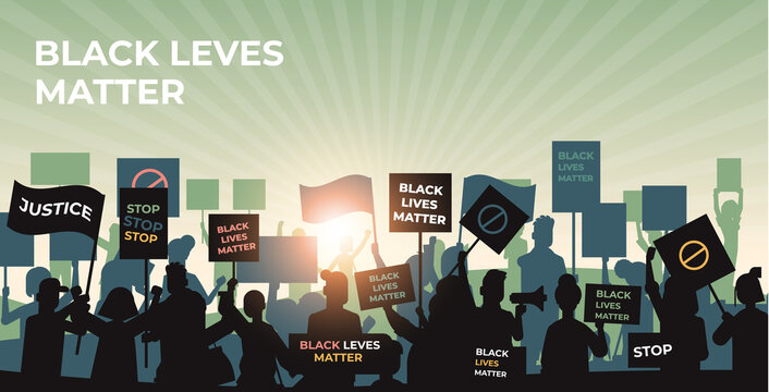 silhouette of protesters with black lives matter banners awareness campaign against racial discrimination of dark skin color support for equal rights of black people horizontal cityscape vector