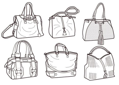 collection of fashionable women's bags (coloring book).
