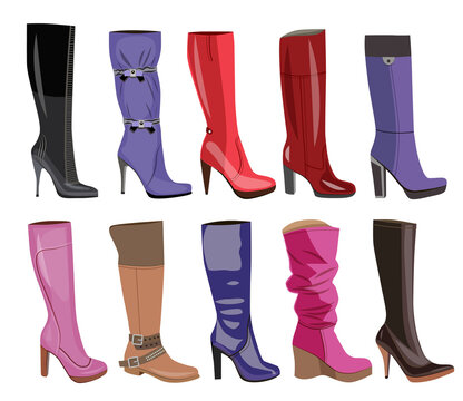 collection of fashionable women's boots