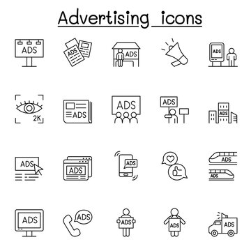 Advertising icons set in thin line style