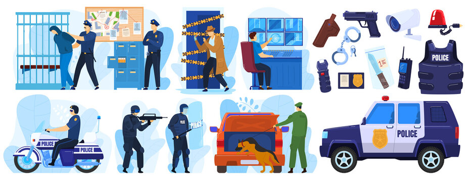 Police vector illustration set. Cartoon flat policeman and criminal characters on arrest emergency, policeofficer people in uniform or bulletproof vest with handcuffs, cop profession isolated on white
