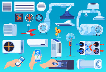Air conditioner ventilation system vector illustration set. Cartoon flat collection of conditioning or regulation temperature devices in home, ventilator propeller fan, exhaust hood isolated on white