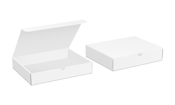 Two paper boxes mockup with opened and closed lid isolated on white background. Vector illustration