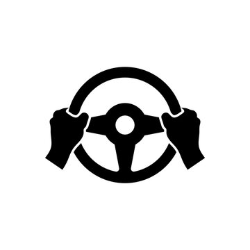 Hand holds the steering wheel of a car. Vector isolated icon.
