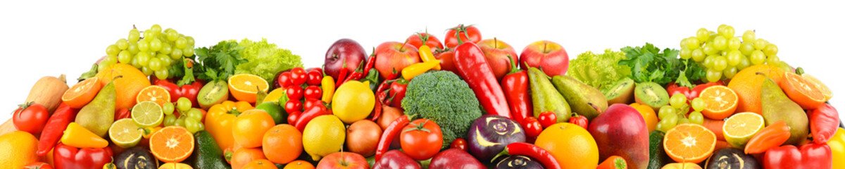 Wall Mural - Panoramic collection of fresh fruits and vegetables isolated on white