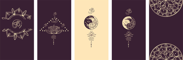 Modern Social Media Stories Layout Set. Abstract hand drawn set of linear template in yoga style for womenly profile, social media, mobile app. Abstract trendy yoga stories hamsa, om, moon
