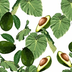 Seamless pattern with avocado and tropical leaves.