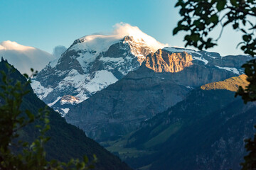 Peak of mount Tödi in Glarus, Switzerland.  Evening light