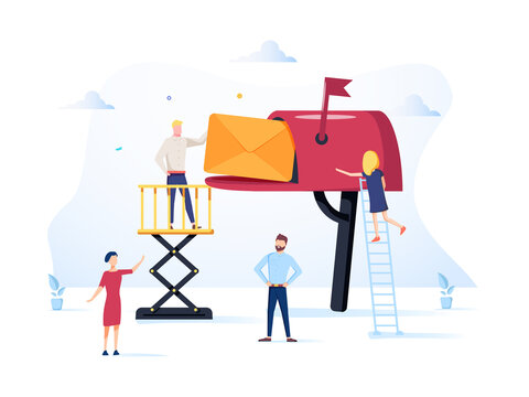 Vector illustration, mailbox with letters, receiving letters, sorting, Web mail or mobile service layout for website