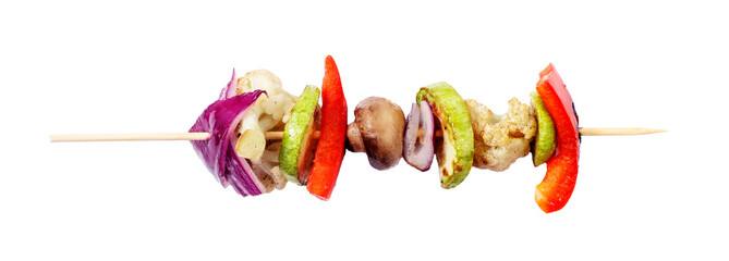 Vagan skewers of vegetables on a skewer on a white isolated background.