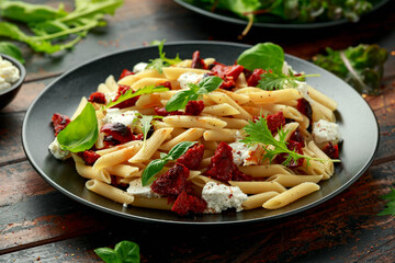 Poster Pierre, Sable Chorizo, Penne pasta with creamy ricotta cheese and greens