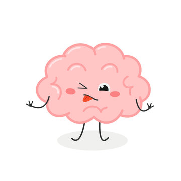 Funny cartoon brain with disgusted facial expression