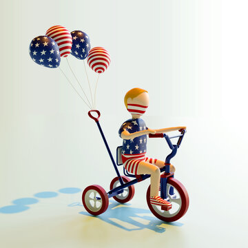 3D rendering character of a boy celebrating USA 4th of July Independence Day. By riding three wheel bike, with four baloons attached.