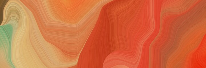 Fototapeten Rot landscape orientation graphic with waves. elegant curvy swirl waves background design with coffee, tan and peru color