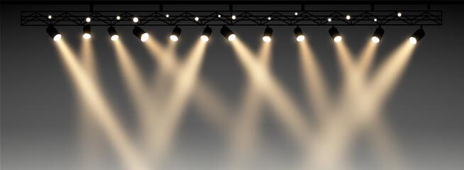 Fototapeta Set of half transparent spotlights with smoke. Various stage lights. vector illustration. realistic scene.