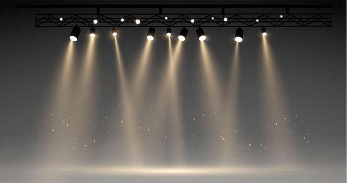 Vector stage with set of yellow spotlights. grey stage lights. realistic epty scene. illustartion