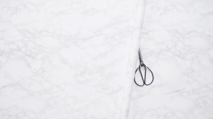 Wall Mural - Flat lay. Making marble board with adhesive paper for food photography.